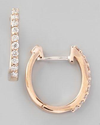 d116b26f1c6b59 ROBERTO COIN JEWELRY NEIMAN MARCUS   Roberto Coin 18k Rose Gold Diamond  Baby Hoop Earrings - ...   Jewelry