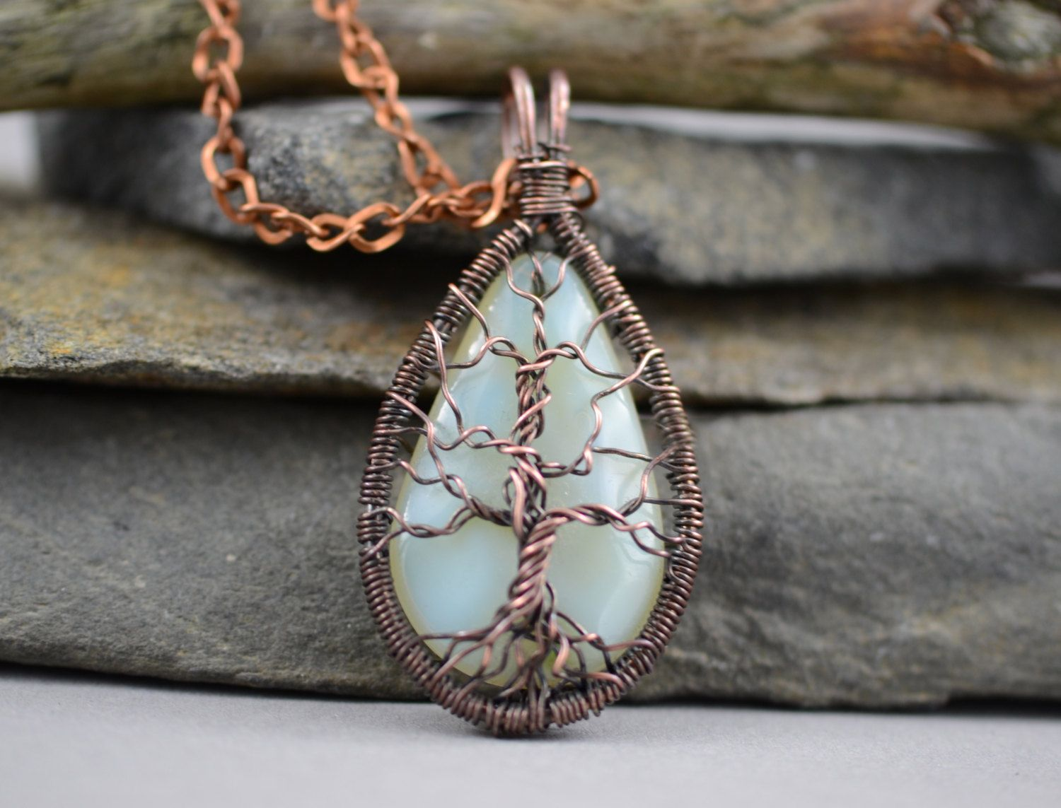 Wrapped Tree-Of-Life Necklace Copper Pendant Wired Copper Jewelry ...