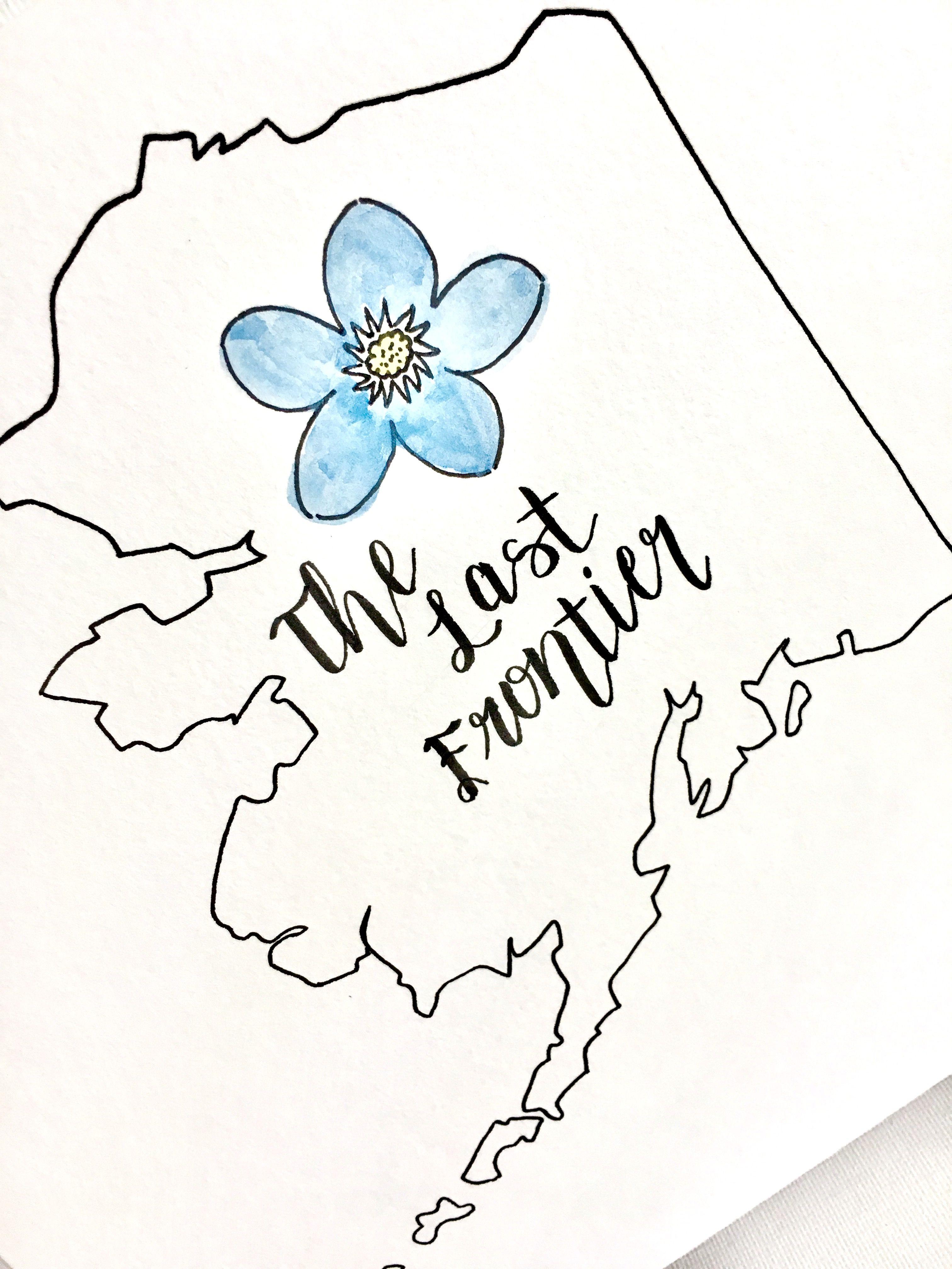 Alaska state alaska state flower state watercolor