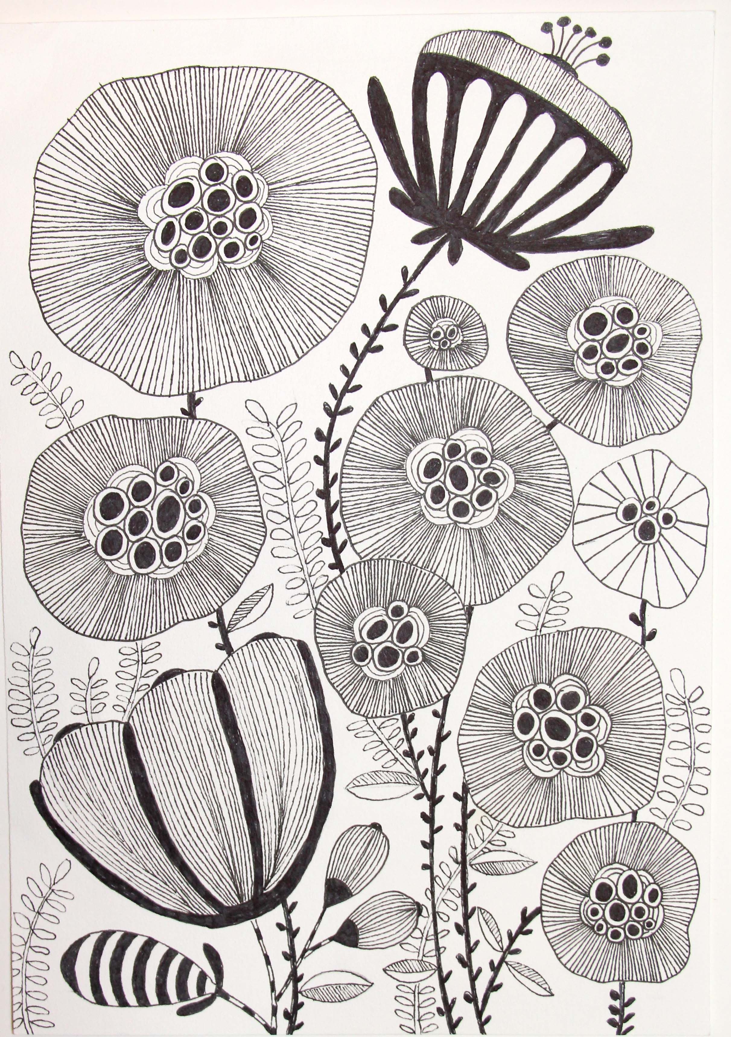 Flowers, Micron pen, Sharpies