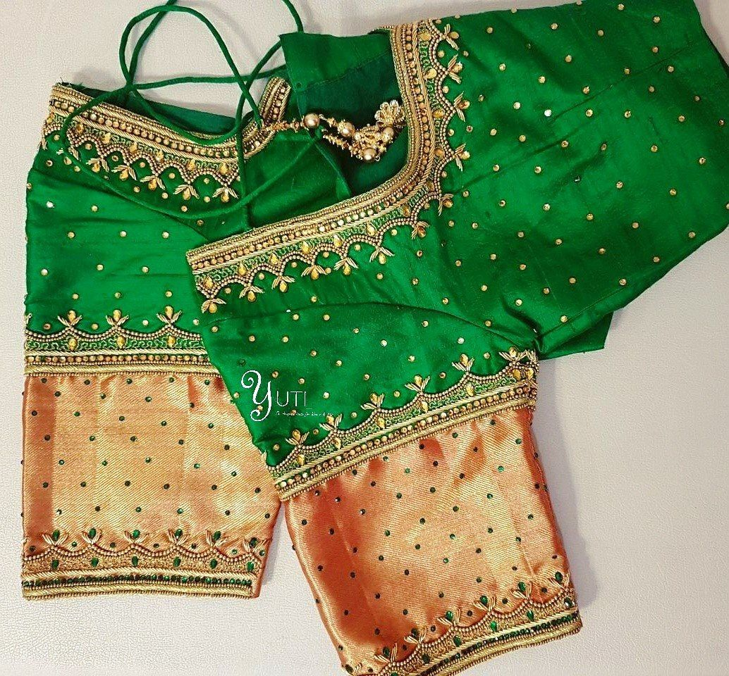 Beautiful Green Color Designer Blouse With Lotus Design Hand Embroidery Thread And Kundan Work ...