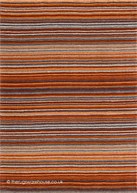 Carter Rust Rug A Modern Striped Design In Warm Shades Of Terracotta