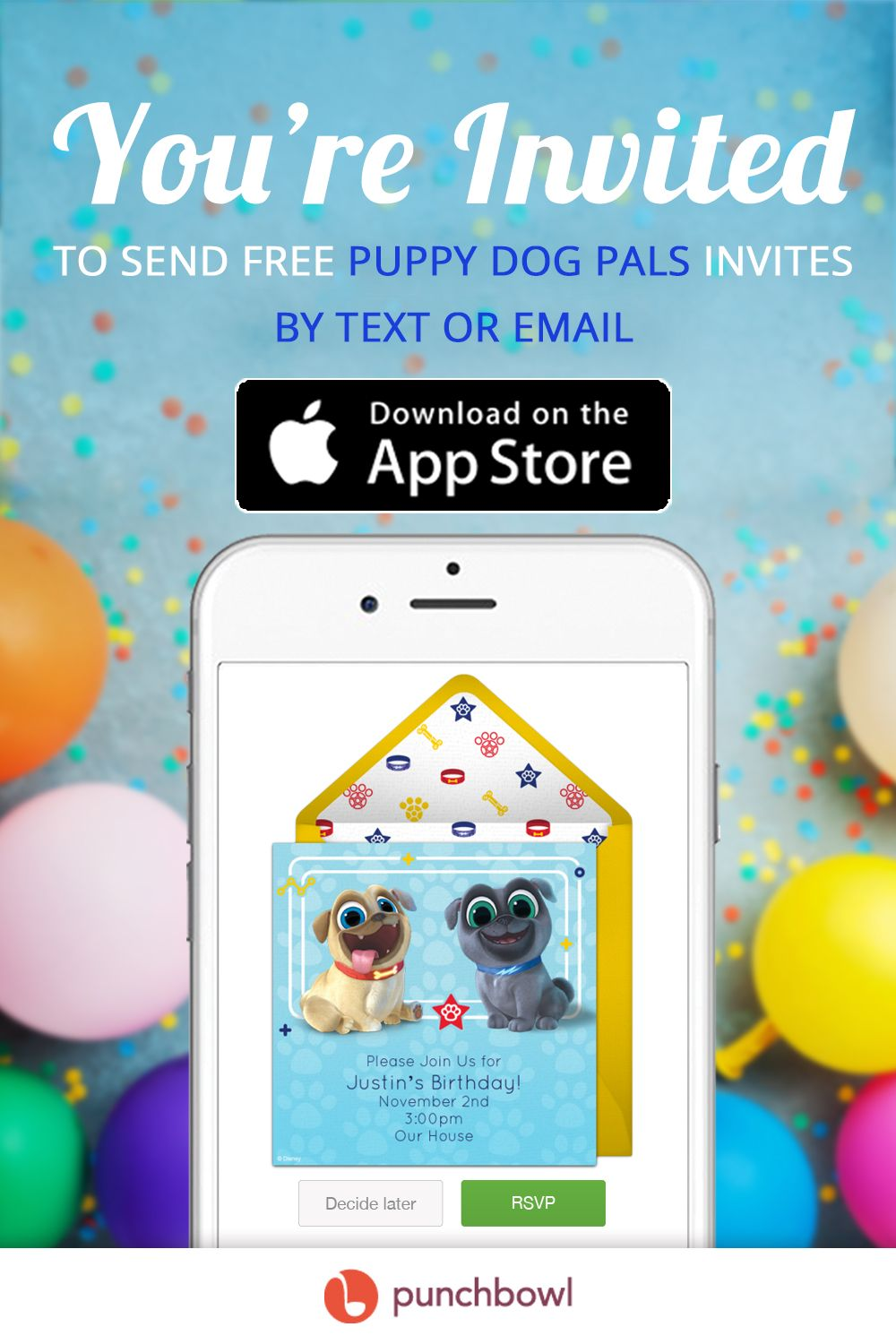 Send free Puppy Dog Pals invitations by text message right