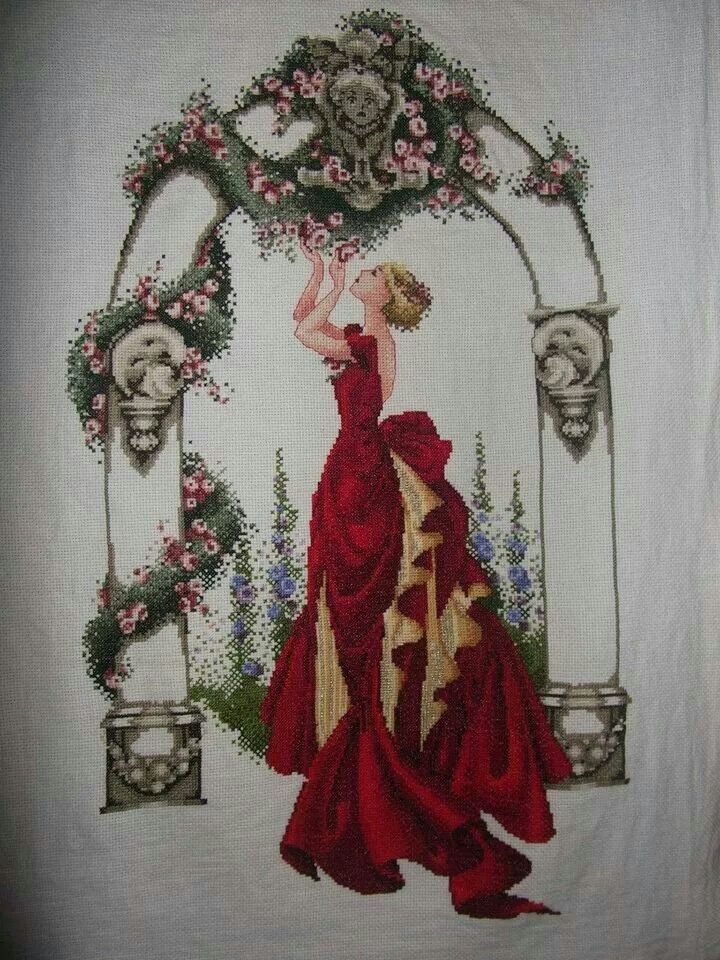 ROSA DR SHAROM ROJA   damas   Pinterest   Rojo, Rosas y Punto de cruz
