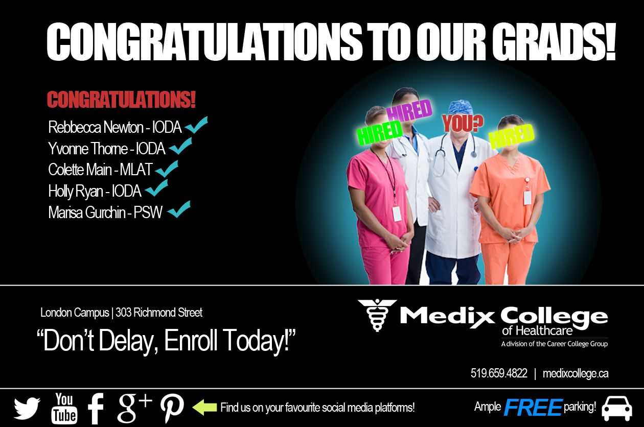 Here at Medix College London Campus we love to celebrate the success of our students. As such, we'd like to share that the following people have recently begun their new careers:  Rebbecca Newton - IODA Yvonne Thorne - IODA Colette Main - MLAT Holly Ryan - IODA Marisa Gurchin - PSW  Congratulations to all and all the best in their new careers! #career #future #change #education #hope#success #hired