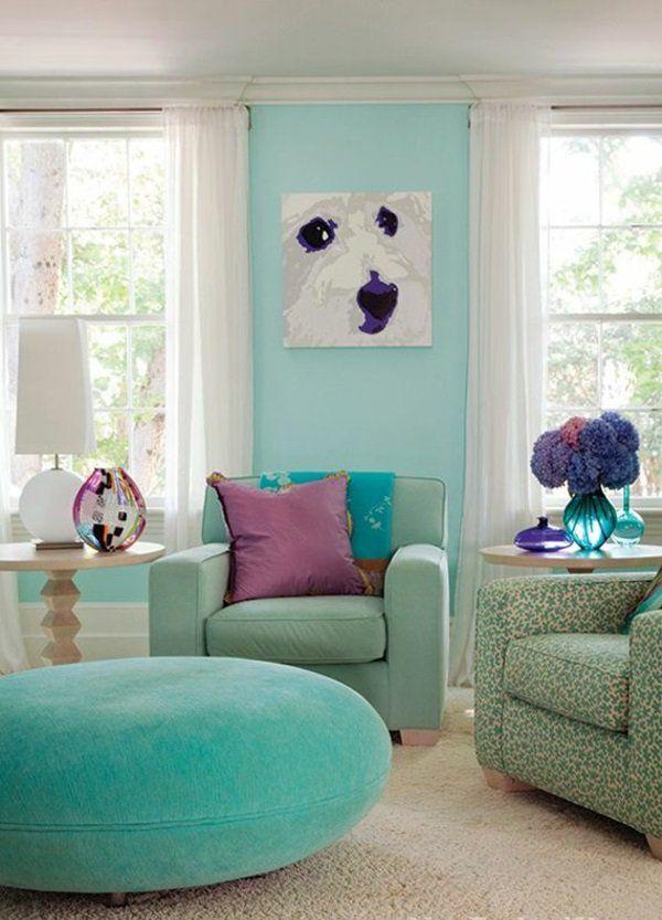 Wandfarbe in Türkis wandgestaltung weich kissen mica Pinterest - wohnzimmer design turkis
