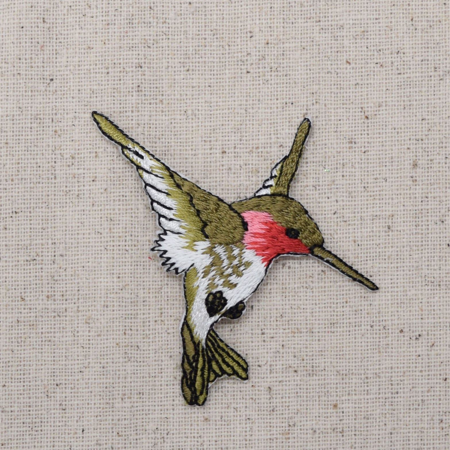 Iron On Embroidered Applique Patch Ruby Red Throat Hummingbird LARGE                                                                                                                                                                                 More