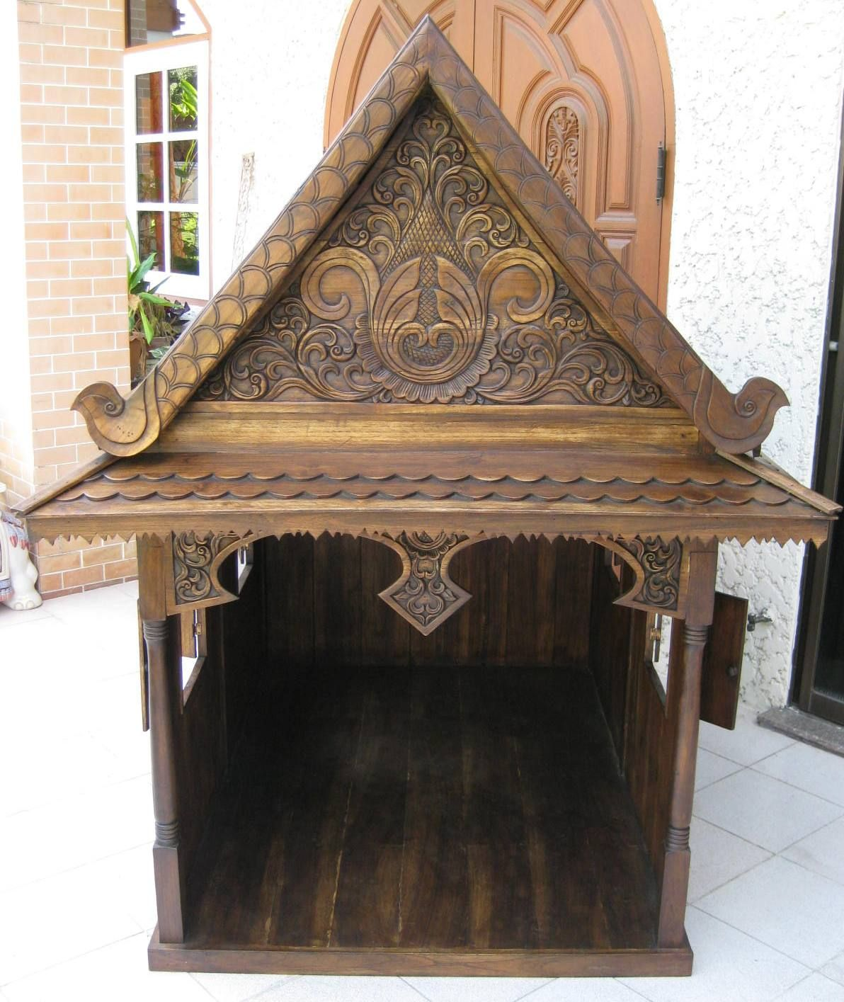 Traditional Thai Teak Dog House Cat House And Doll House Thai House Dog Houses Traditional