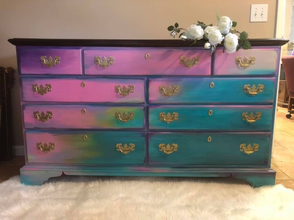 Boho Bohemian Style Dresser By Dixie Pink Teal Dresser Decor