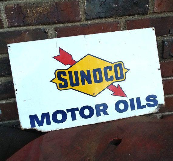 Vintage Sunoco Gasoline Motor Oil Sign - Orignal 1950s Porcelain Enamel Gas Station Sign