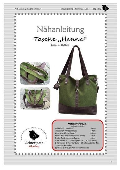 Photo of Sewing instructions and pattern, bag Hanna