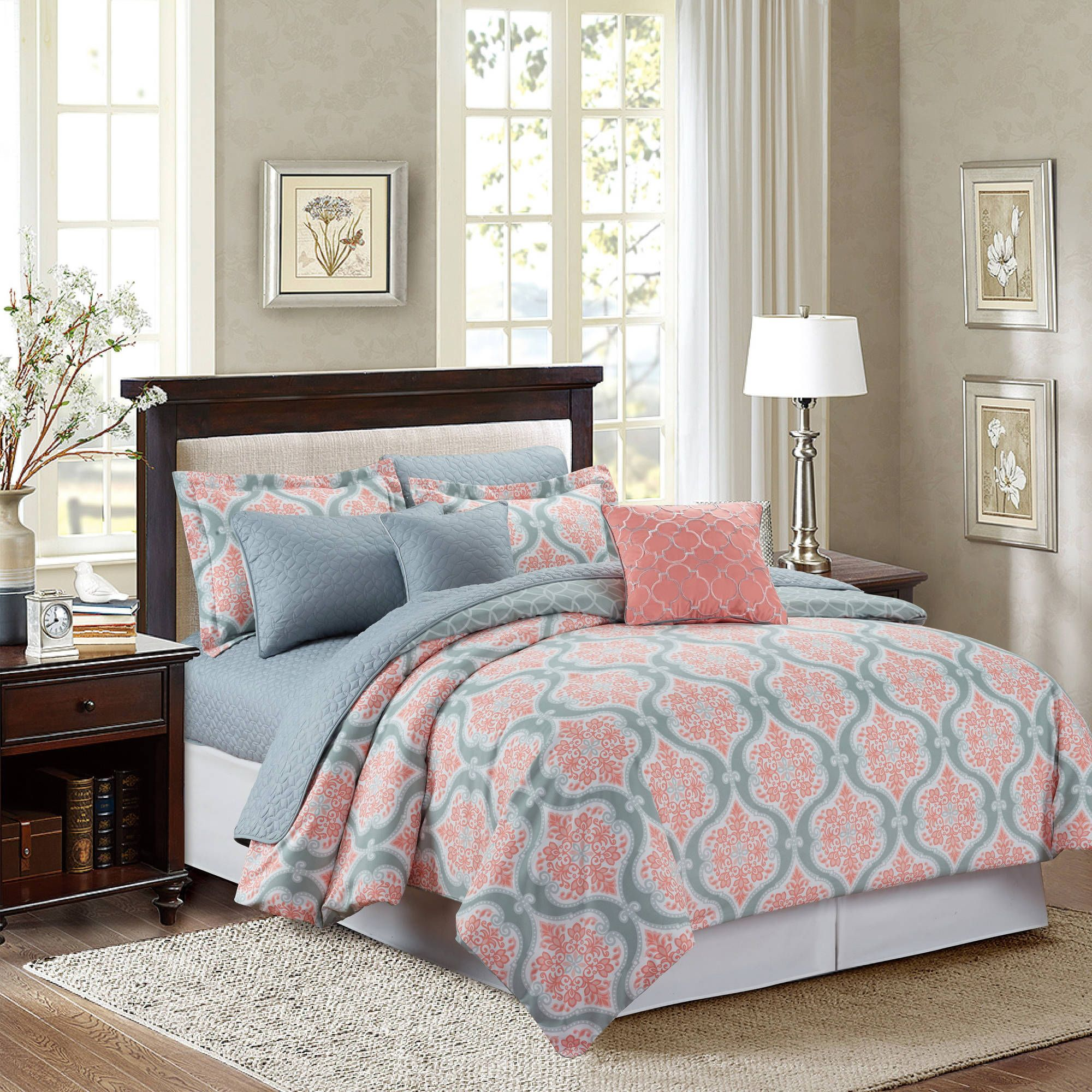 Interesting Decorative Bedding With Comfortable Coral Comforter
