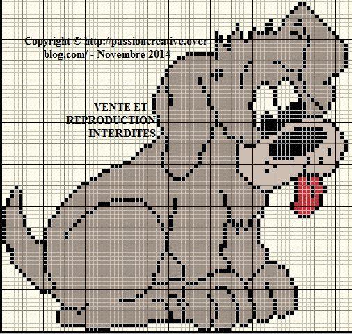 Grille gratuite point de croix chien gris le blog de isabelle point de croix 1 vrac - Grille point de croix pinterest ...