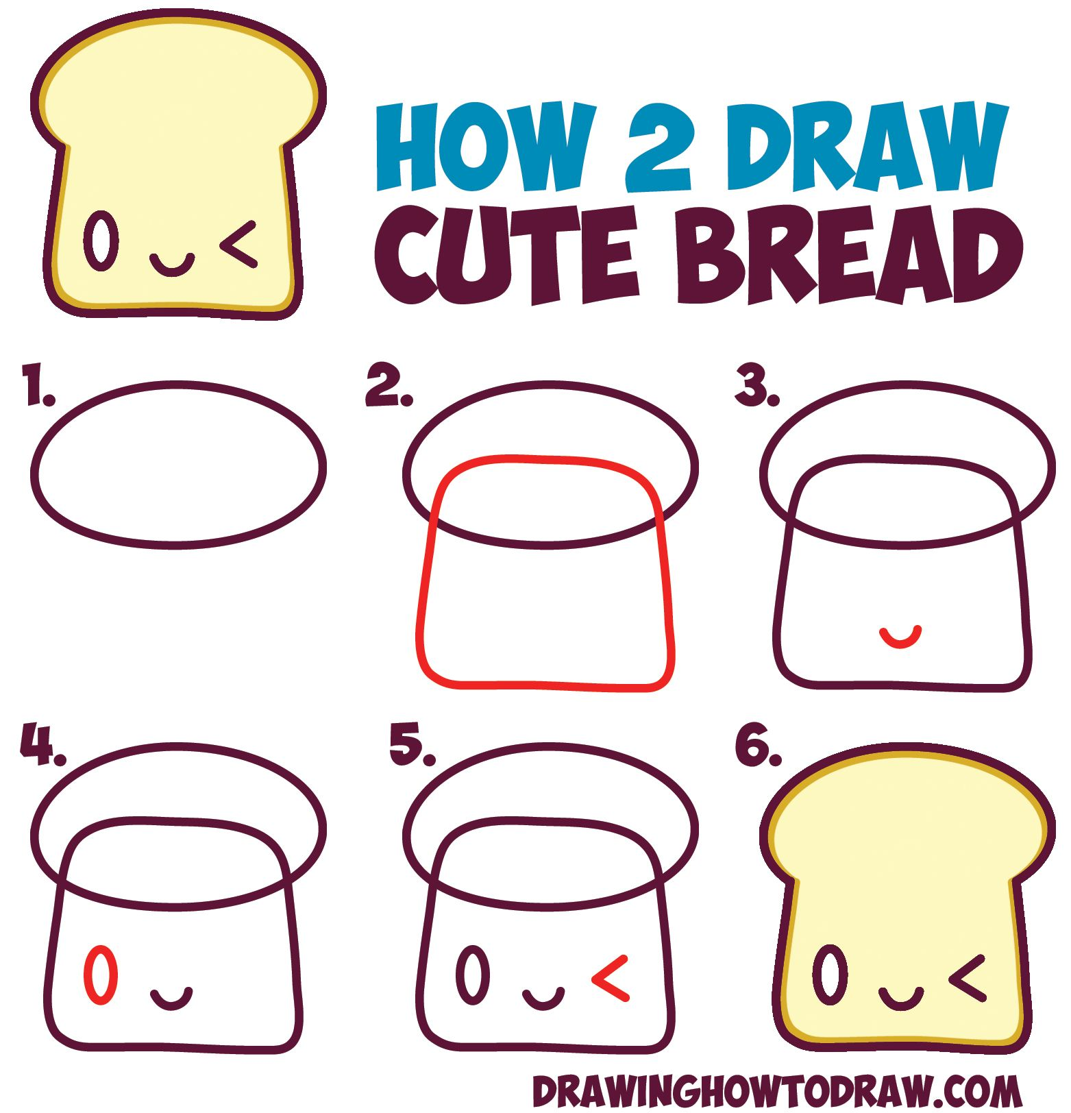 How to draw cute kawaii bread slice with face on it easy for Things to draw for beginners step by step