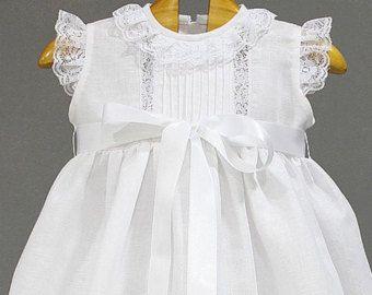 62e274c3e Vestido de bautizo para niña de organza de seda marfil con