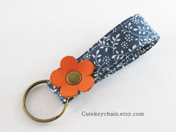 MINI Fabric Keychain Fabric Wristlet Key Fob by CuteKeyChain