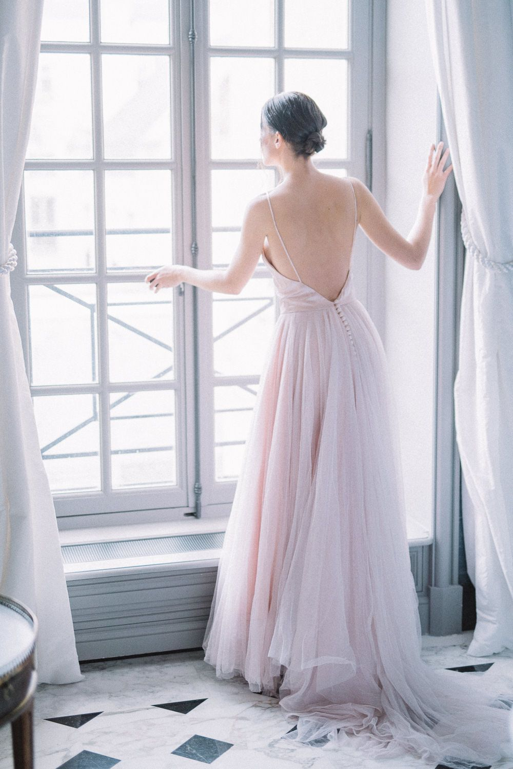 fb0e1a2faaf0 SAMPLE SALE; pale shell pink silk satin and tulle ballerina style wedding  dress, UK size 8/10   crystal tree   Wedding dresses, Dresses, Pink wedding  ...