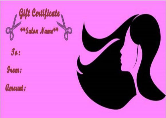 Hair Salon Gift Certificates Salon Gift Certificate Templates