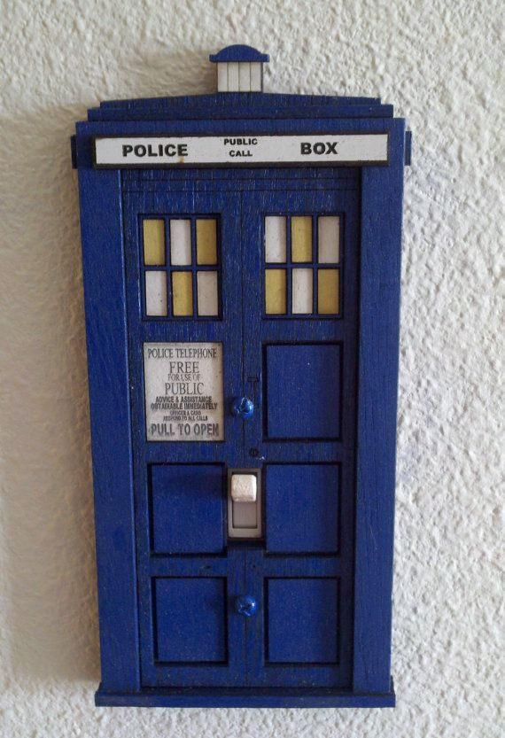 Doctor who tardis switch plate cover switch plate covers for Tardis light switch cover