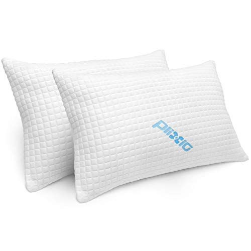 2 Pack Shredded Memory Foam Bed Pillows for Sleeping  Bamboo Cooling Hypoallergenic Sleep