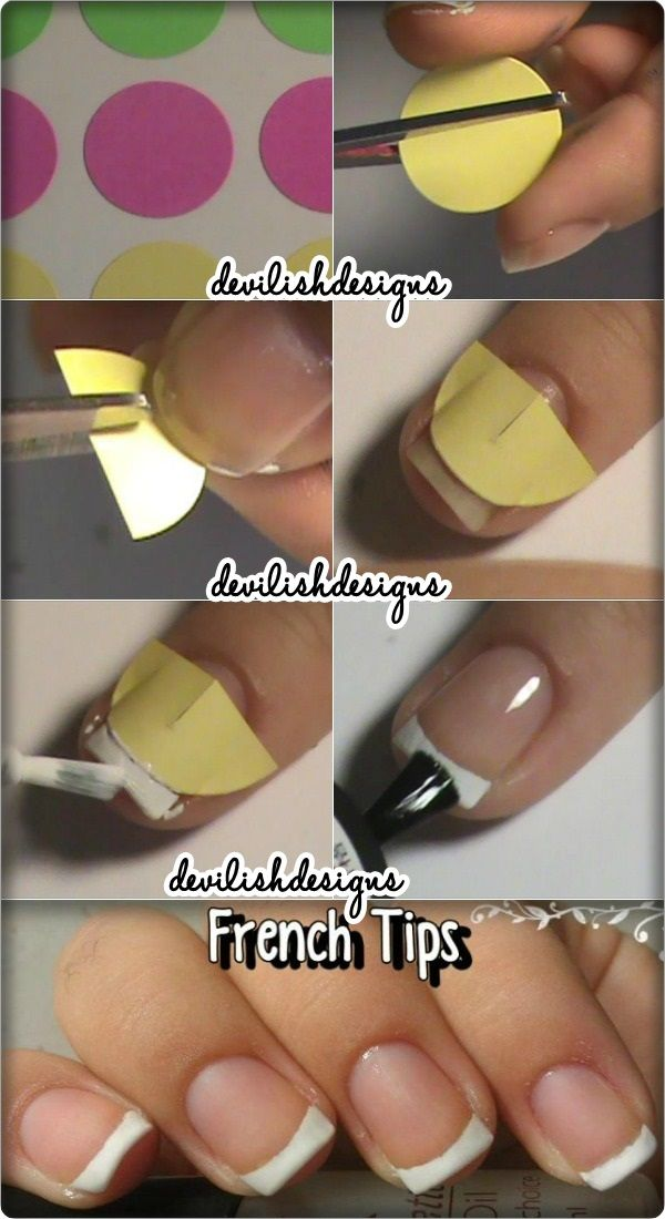 French Tip Forms From Dot Stickers Fake Nails Nails French Tip Nails