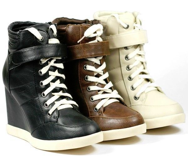 HIGH TOP LACE UP FASHION WEDGE SNEAKERS ANKLE BOOT SODA KAYAK-S BLACK BEIGE  #Soda #FashionSneakers