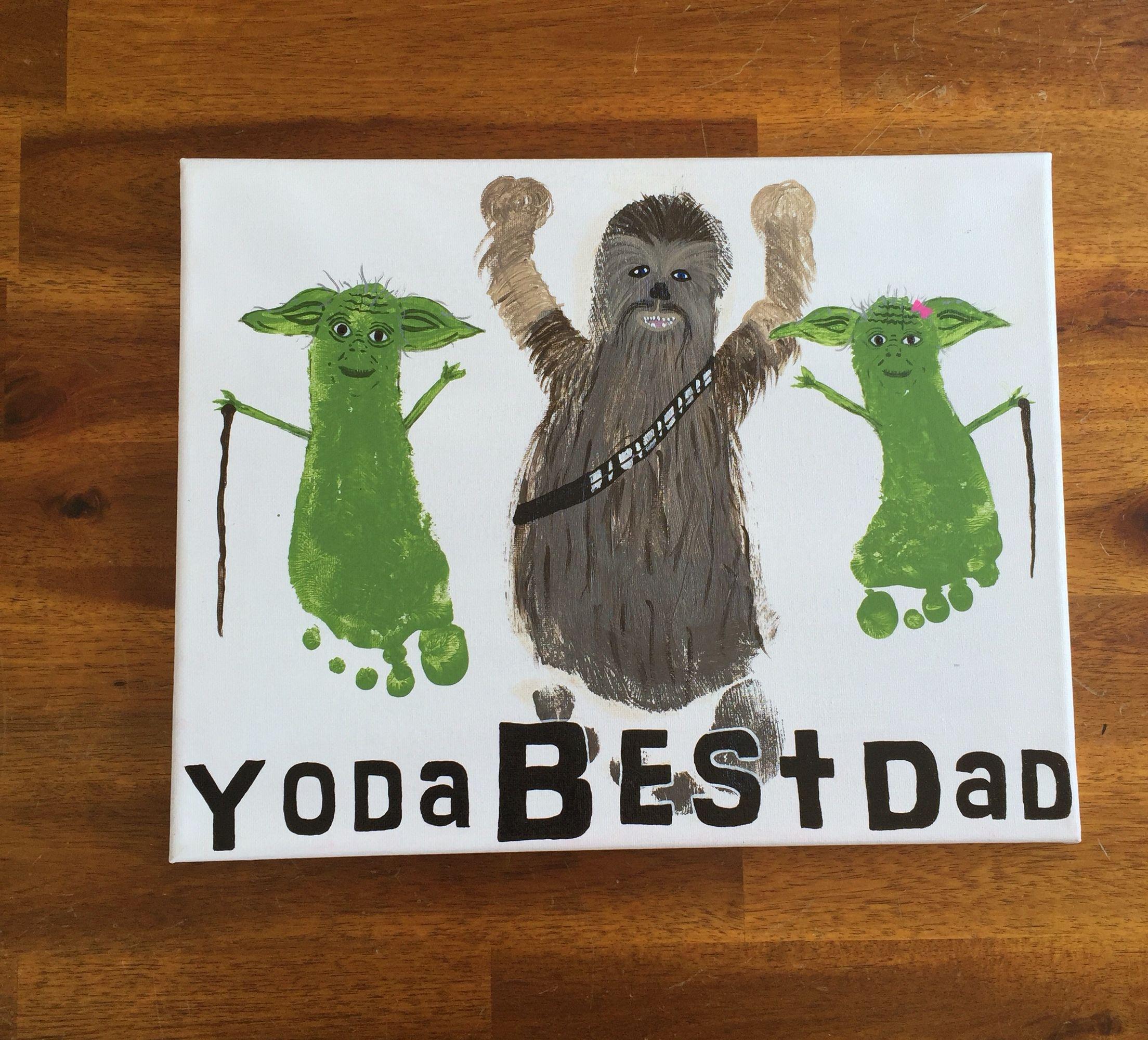 Yoda Best Dad Footprint Fathers Day Gift Idea Acrylic On