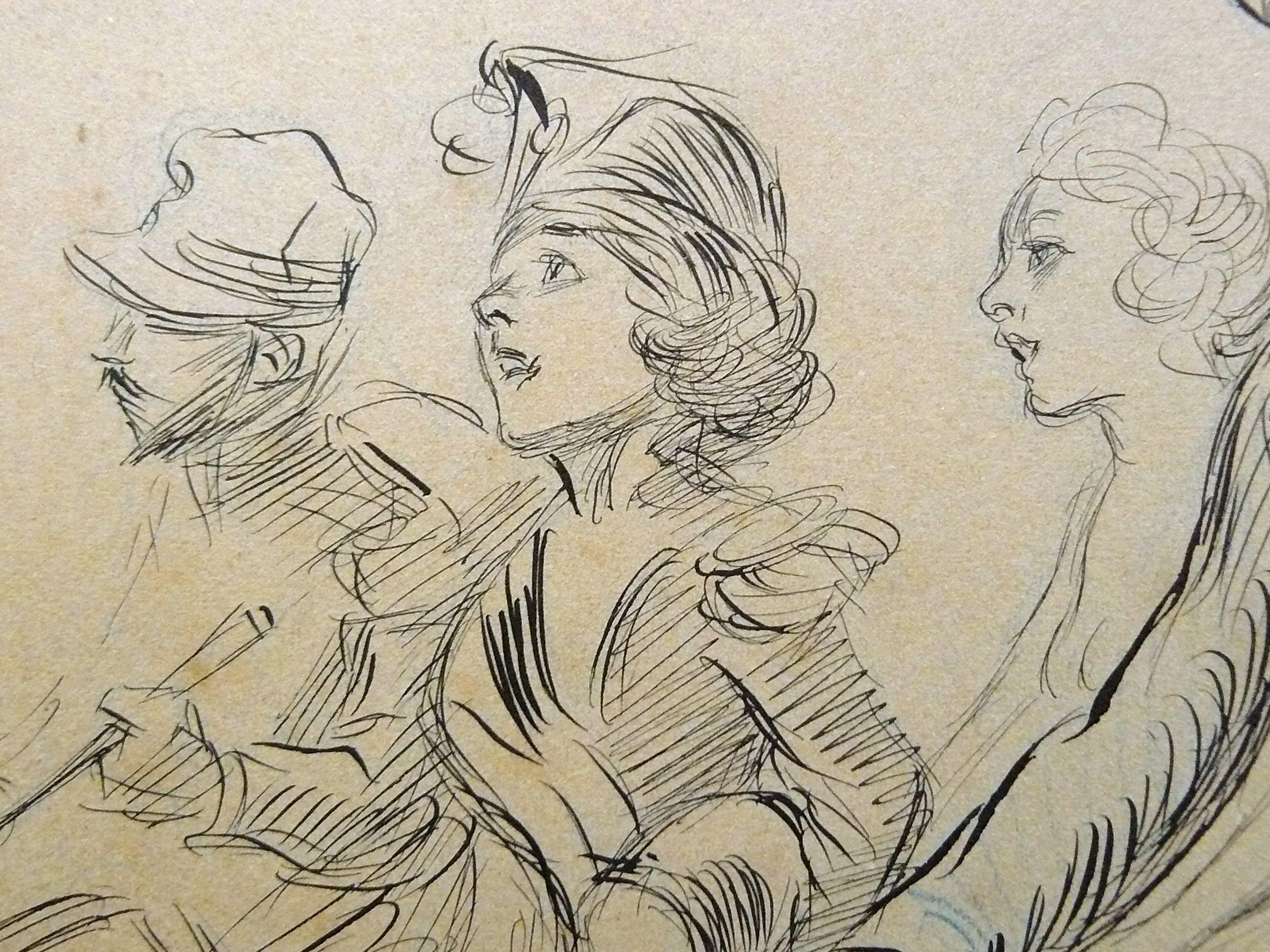 Willette Adolphe - Illustration (Polin dans la boiteuse) (détail)