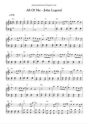 All Of Me John Legend Piano Sheet Music Free Clarinet Sheet