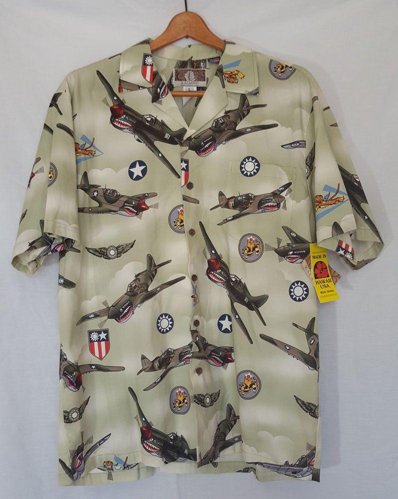 b83e3094 NWT Kalaheo Hawaiian Shirt Sz Large WW2 Fighter Planes Mens Green Made in  USA #Kalaheo #Hawaiian