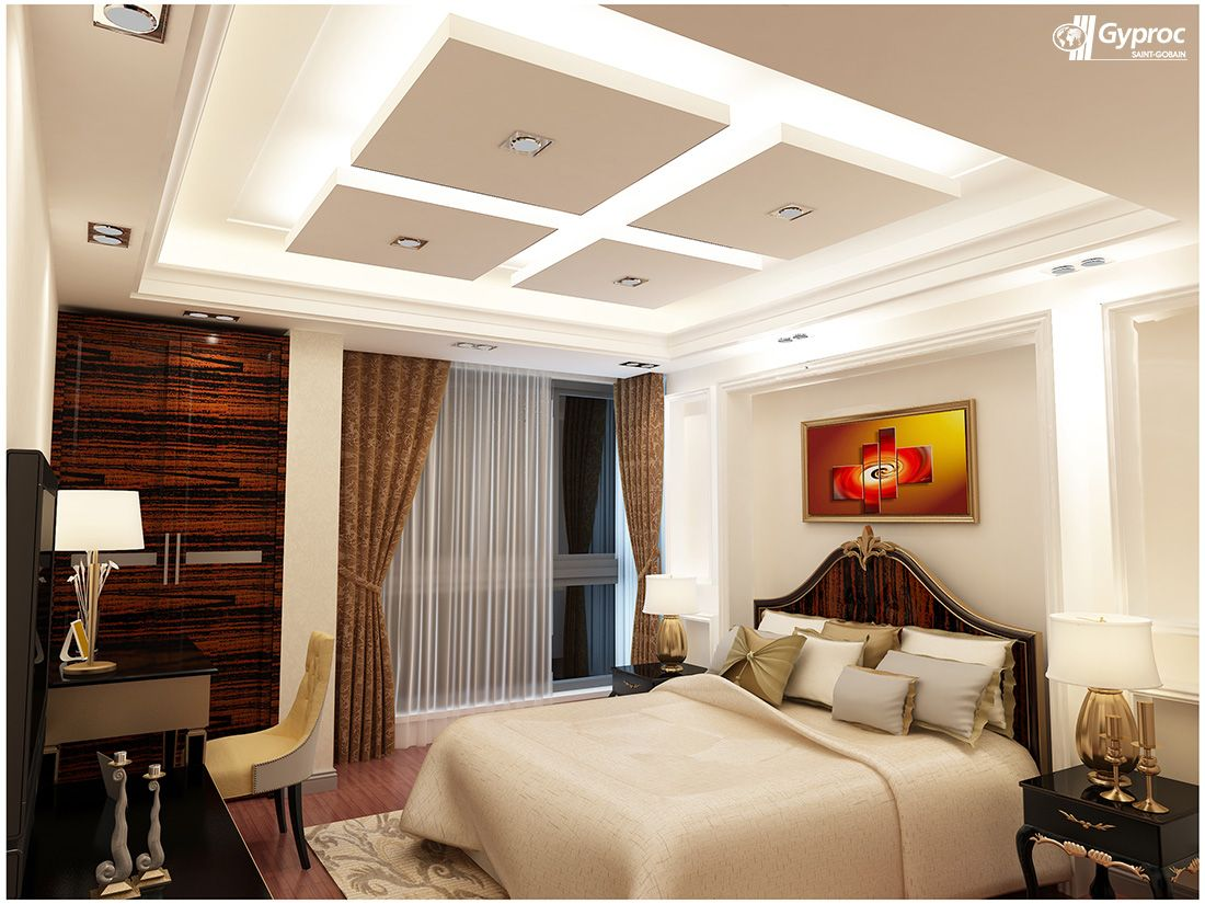 Gyproc falseceiling can completely change your bedroom give it a refined and artistic look - Fall ceiling designs for bedroom ...