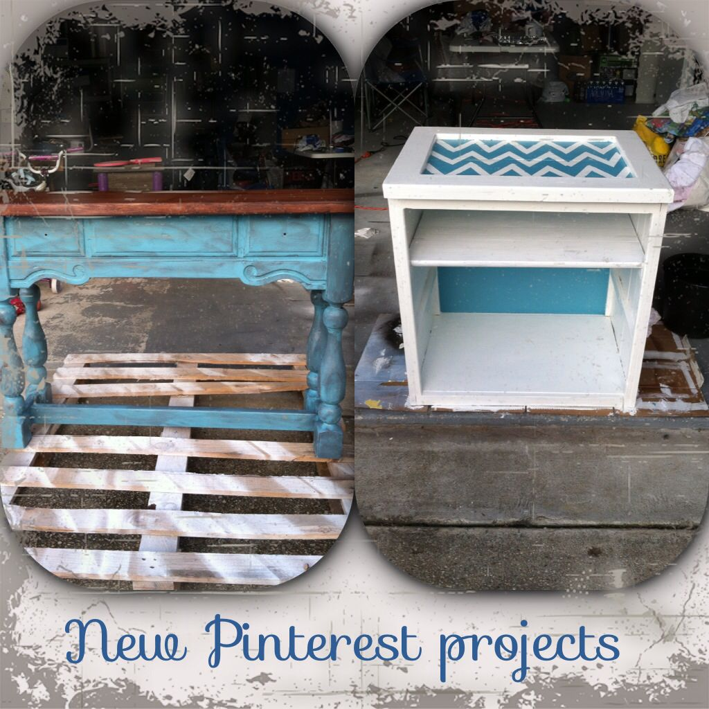 My two new projects, not quite finished but looking good for a furniture redo newbie;)