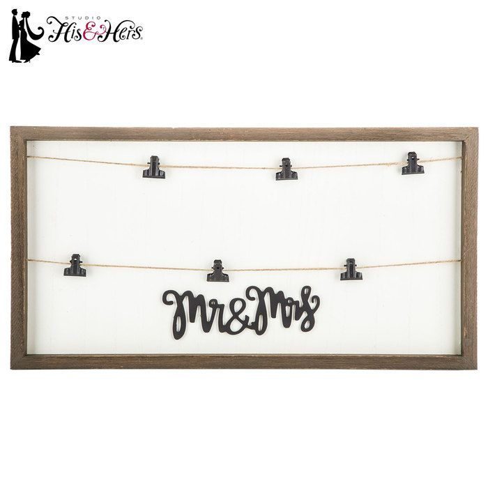 Mr & Mrs Wood Wall Decor with Clips | Wants and Needs | Pinterest