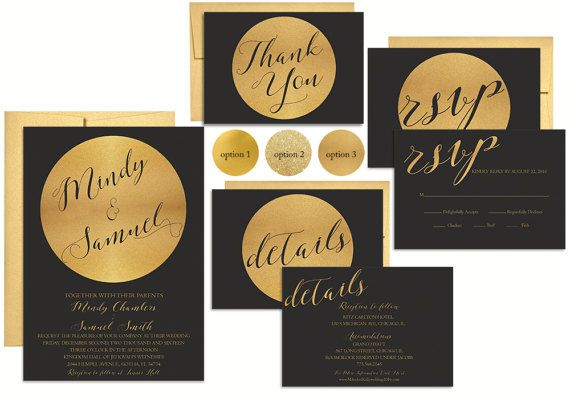 Black and Gold Wedding Invitation Suite Gold and Black Wedding Invitation  Black Wedding Invitation Modern Wedding Invitation Printed or Printable