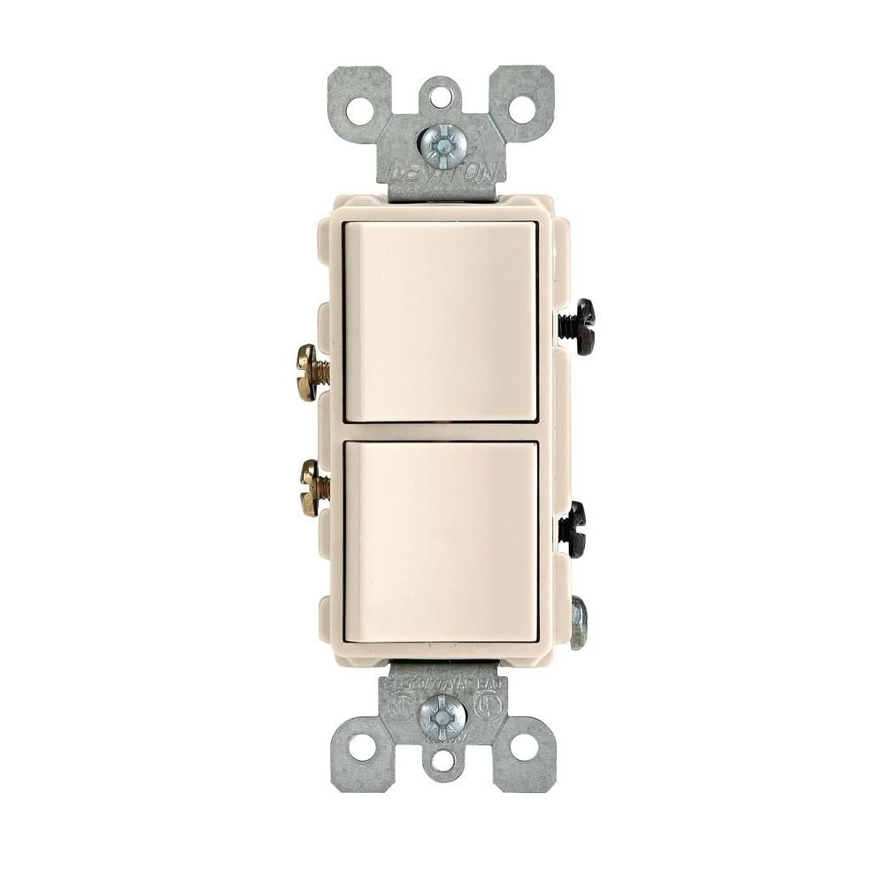 Leviton Decora 15 Amp Single Pole Dual Switch Light Almond Toggle With Side And Push Wiring White
