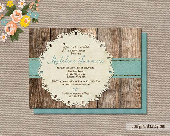 Rustic Baby Boy Shower Invitations DIY Printable By PoofyPrints
