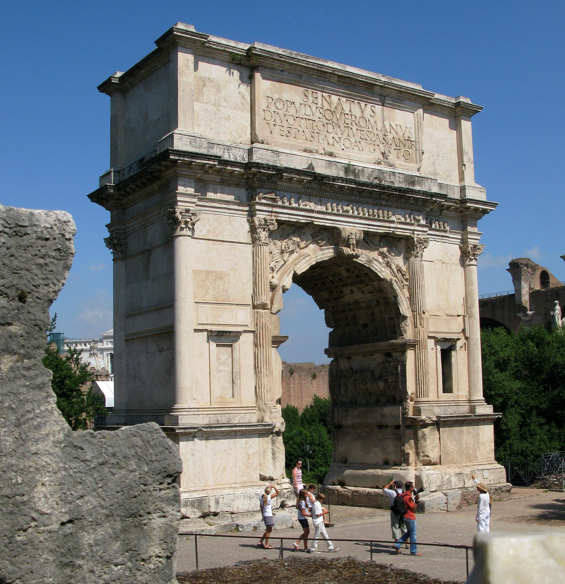 The arch of Titus built in Rome in 81 CE. On top it says ...