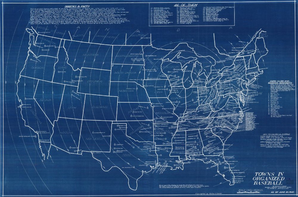 Towns in Organized Baseball. Map drawn by Harlow D. Forker
