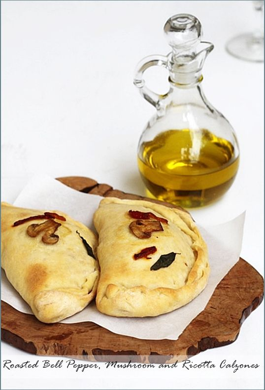 Roasted Bell Pepper, Mushroom and Ricotta Calzones