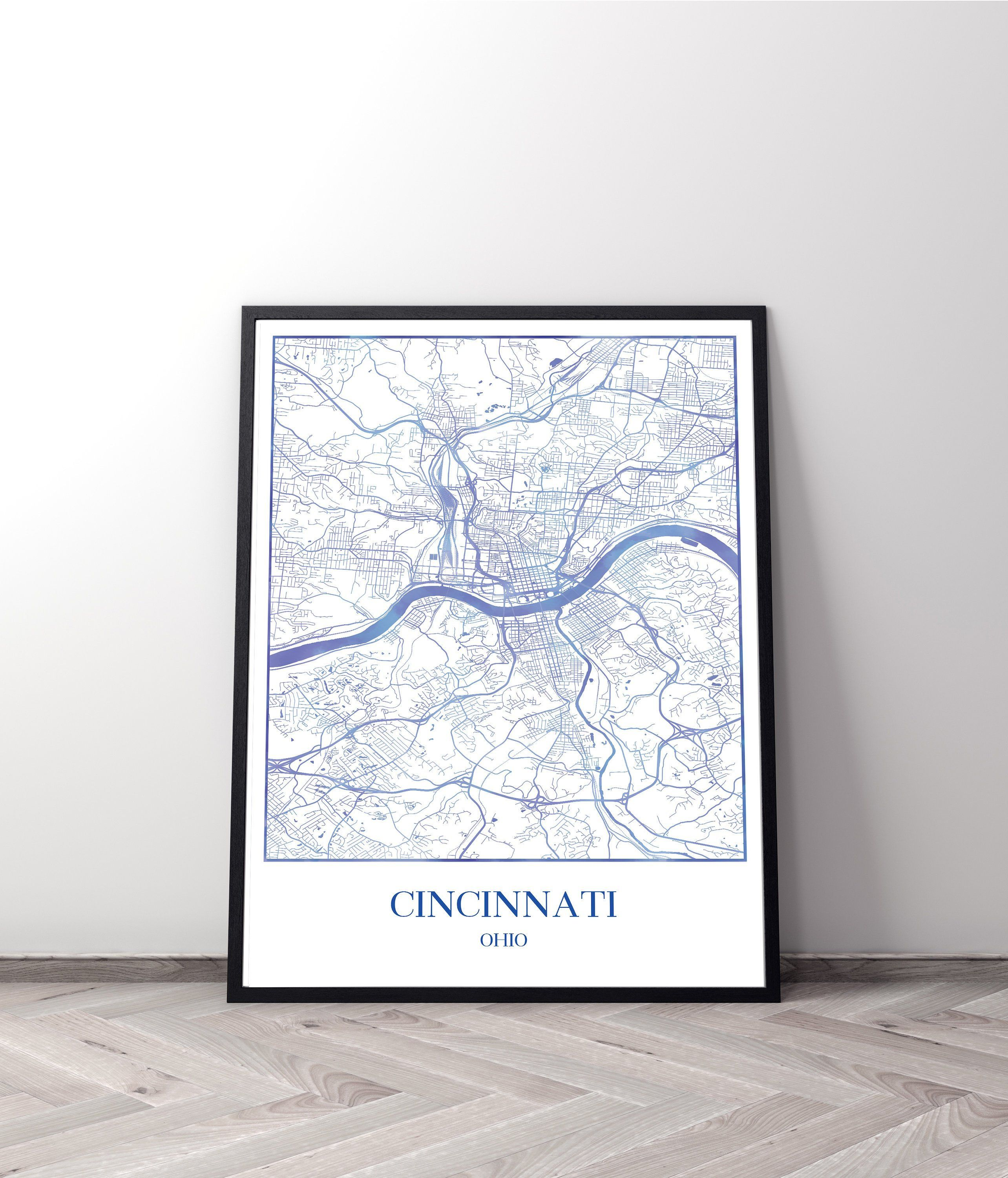 Map Of New York Ohio Area.Cincinnati Ohio Map Poster Personalized Gifts In 2019 Travel And