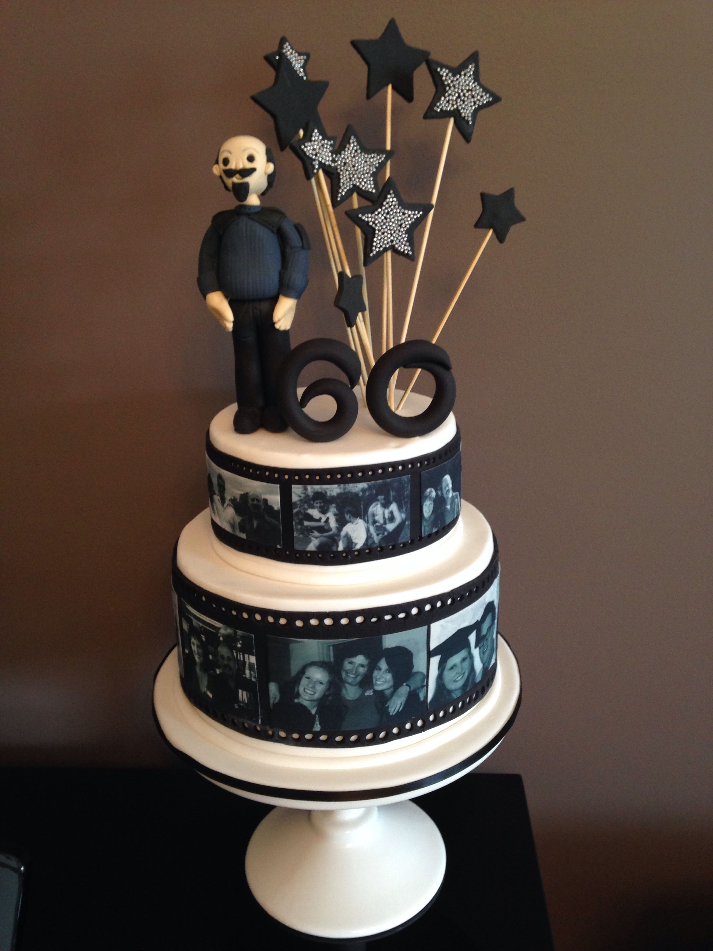 Photo inspired 60th birthday cake. Great for men (when it