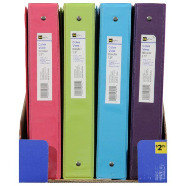 Dg Office Binder 1 5 In Orted Colors
