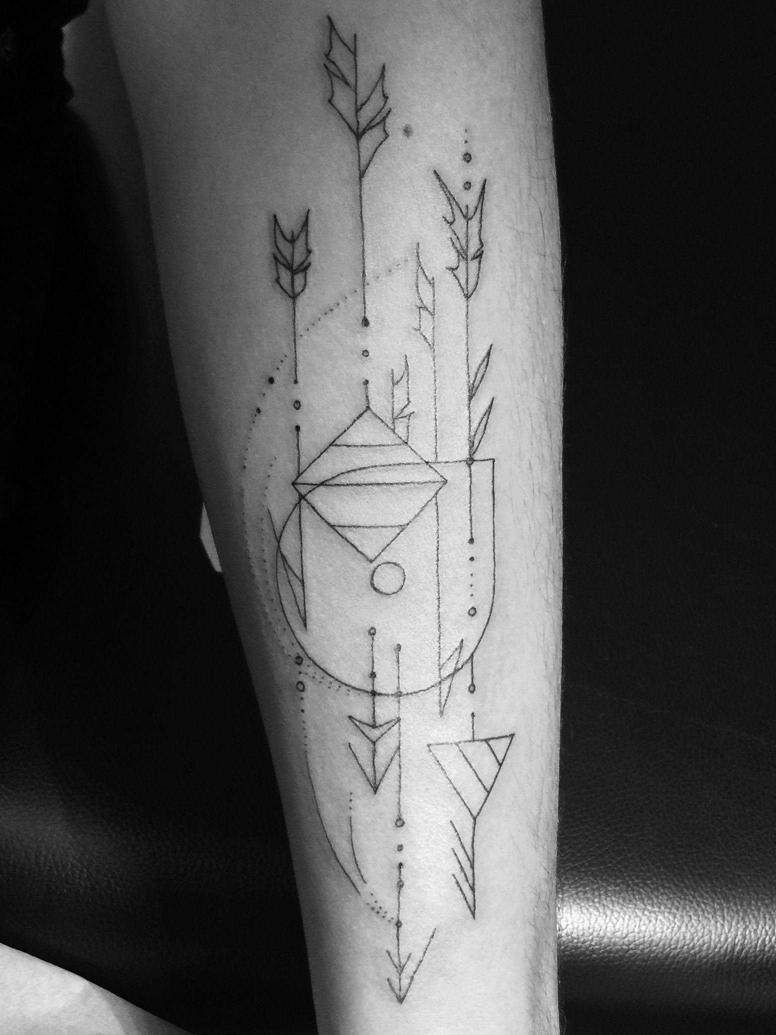 My first tattoo! Geometric, Glyphs and a little dr woo ssc :)