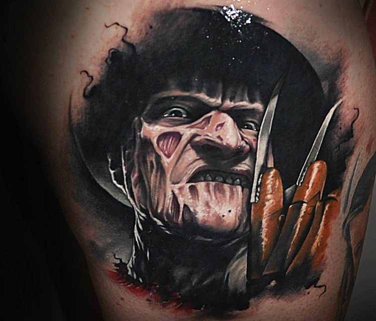 Realistic Coloring Of Chucky: Portrait Tattoo Of Freddy Krueger By Benjamin Laukis