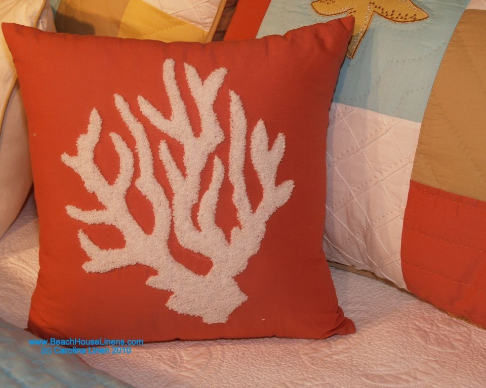 """St. Lucia Pillow: Hooked Coral 16"""" : BeachHouseLinens.com -"""