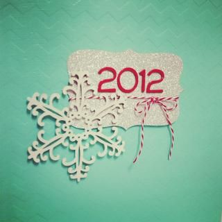 December Daily Cover  By nicolesher  Using the Studio Calico 6X8 handbook. Painted it with Martha Stewart Beach Glass in High Gloss. Cut the bracket with silver POW and added the twine & 2012. Then painted a wood snowflake white and glued it all together. Tfl!