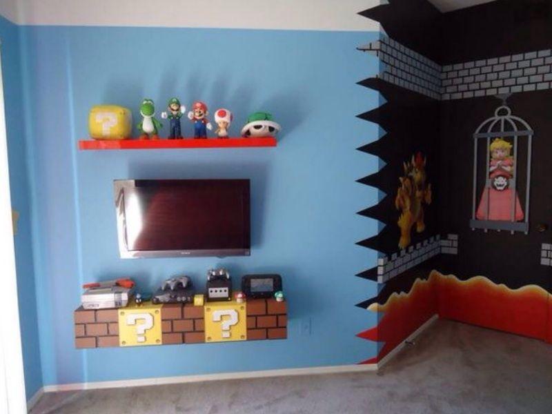 Super mario bros theme bedroom mario pinterest deco chambre garcon lit enfant and deco - Deco chambre mario ...