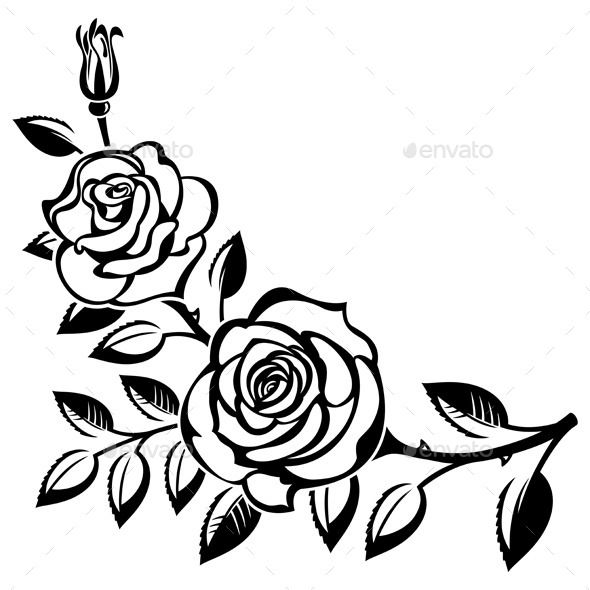 Branch Of Roses Art Cut Design Elements And Clip