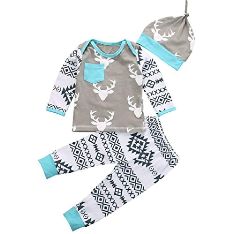 EcosinTM Fashion Kid Baby Girls Boy Clothes Christmas Deer Romper