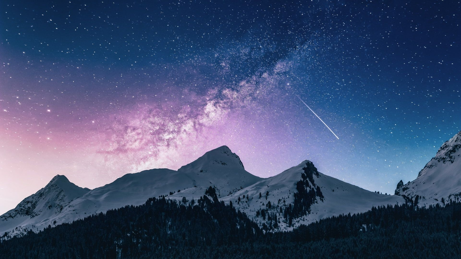 Nature Milky Way Stars Landscape Sky Mountains 1080p